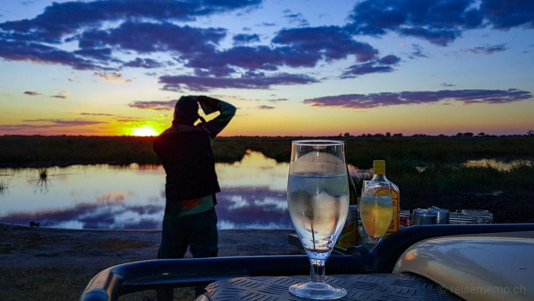 Sundowner bei der Linyanti Safari