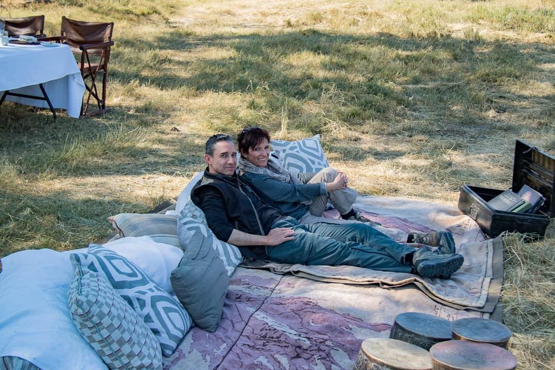 Walter und Katja nach dem Picknick im Okavangodelta