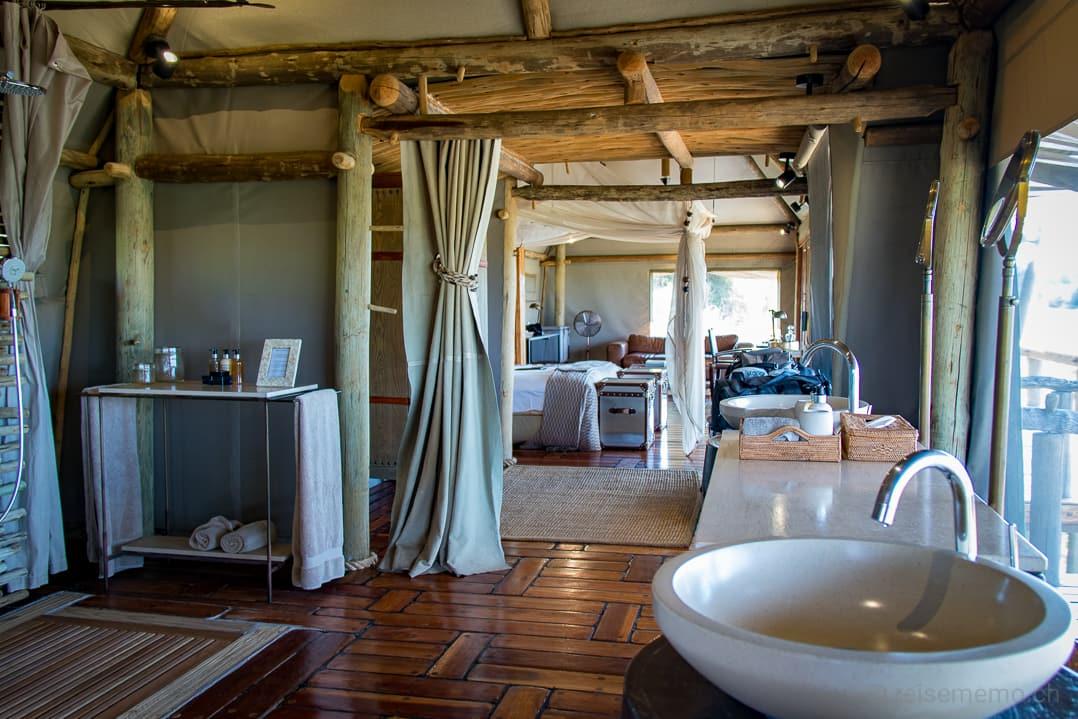 """Little Mombo Camp """"Doppelzelt"""" mit Badezimmer und Schlafzimmer sowie Salon"""