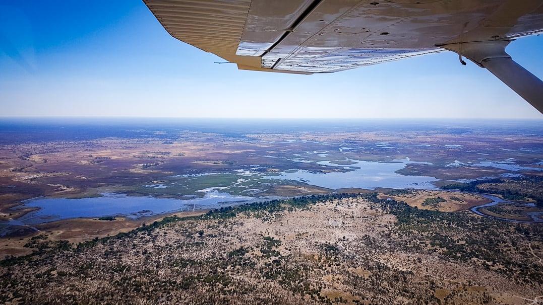 Luftaufnahme vom Linyanti Reservat im Okavangodelta