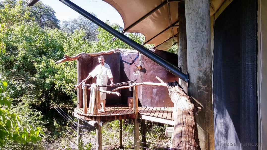 Openair Dusche im Tubu Tree Camp