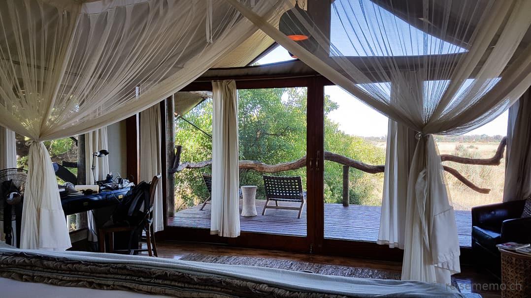 Aussicht vom Tubu Tree Himmelsbett aufs Okavangodelta