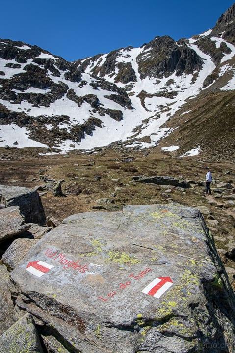 Abzweigung, Graubünden, Lai da Tuma, Tomasee, Val Maighels, Wanderung, Wanderweg, wandern