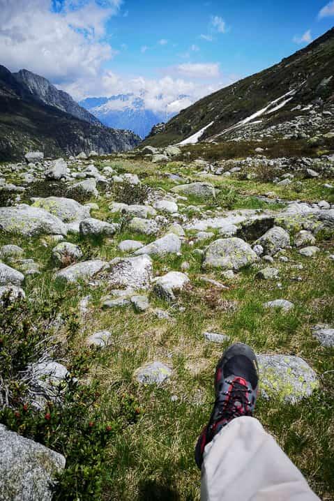 Mammut Wanderschuhe auf der Alp Dammareuss
