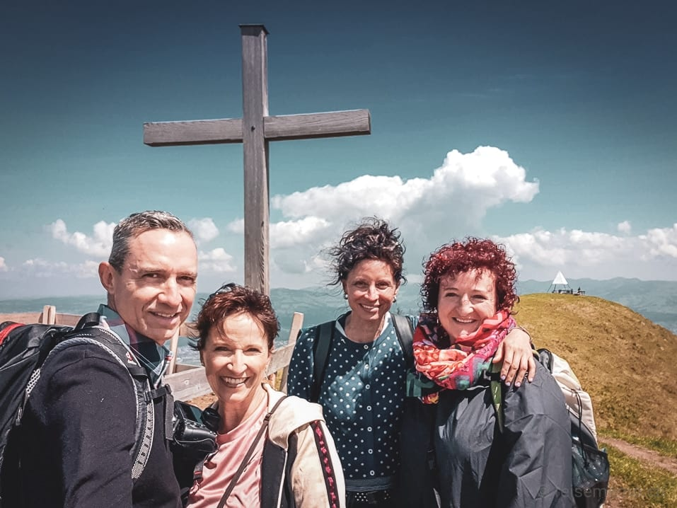 Selfie: Walter, Katja, Claudia und Manu auf dem Stöcklichrüz