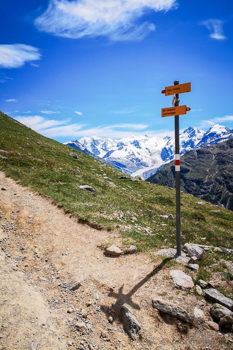 Wanderwegweiser vor dem Piz Bernina