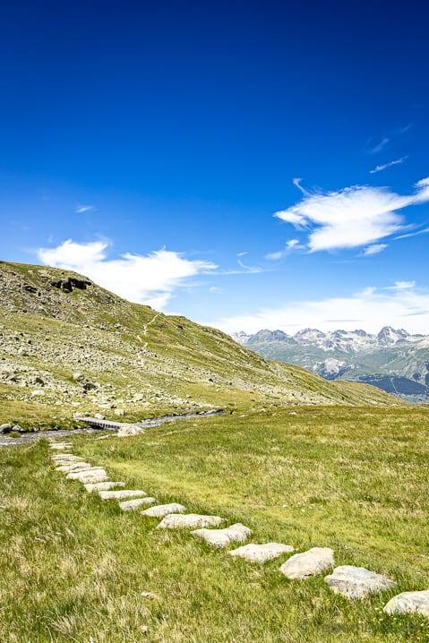 Wanderweg aus Steinen auf der Alp Languard