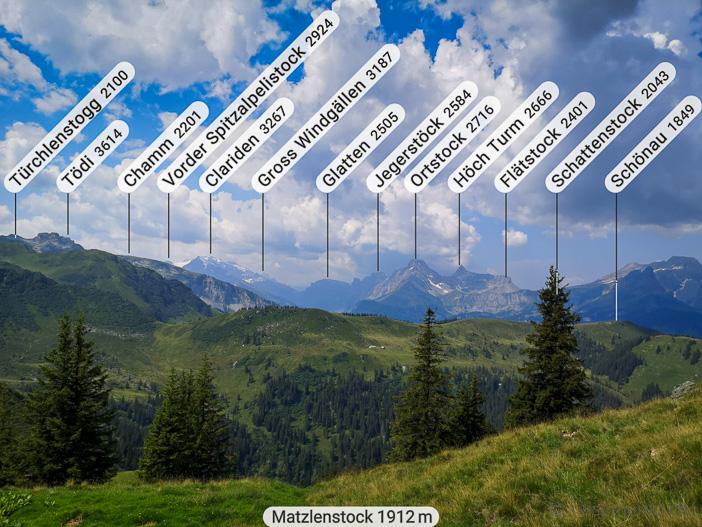 Glarner Alpenpanorama mit Tödi, Clariden, Vorderer Eggstock, Bös Fulen