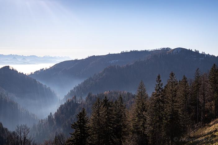 Aussicht auf Tössscheide mit Brandegg und Hüttchopf
