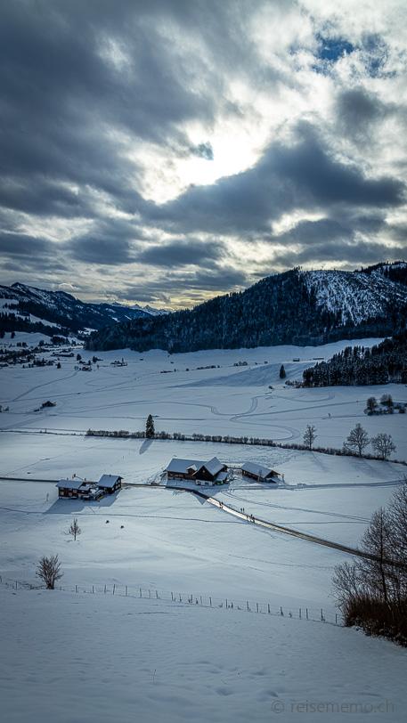 Sicht auf Weiler Alpegg bei Einsiedeln