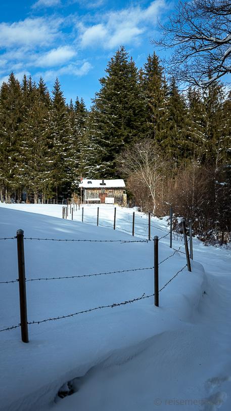 Winter mit Häuschen am Waldrand