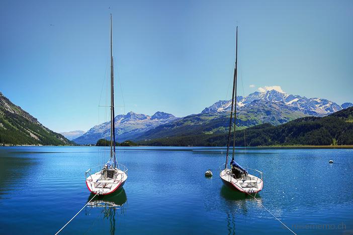 Segelboote bei Plaun da Lej