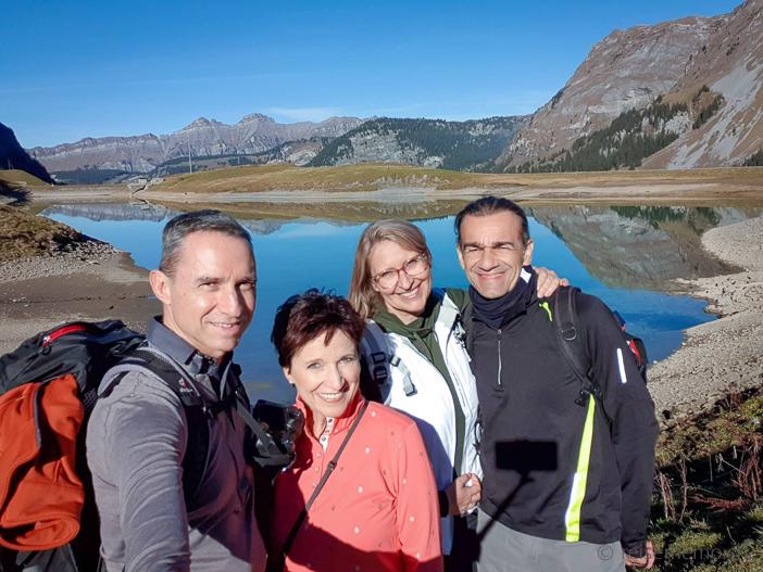v.l. Walter, Katja, Gabi und Alex am Waldisee