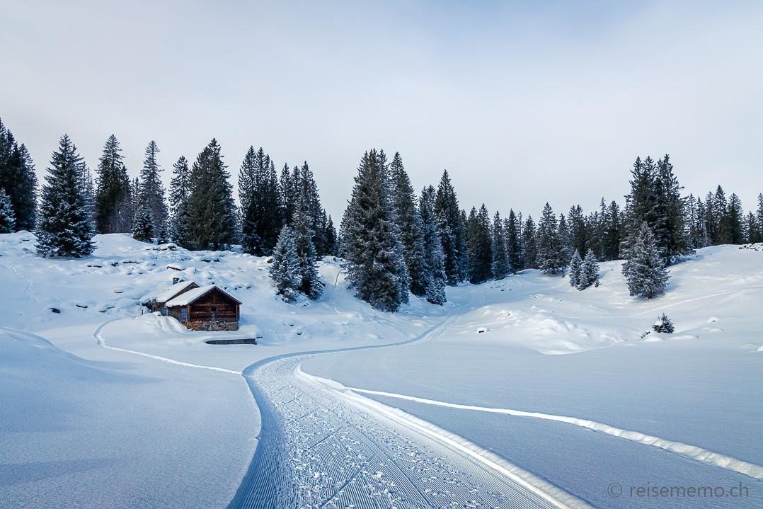 Winterwanderung: Hütte am Sagenweg der Alp Sellamatt