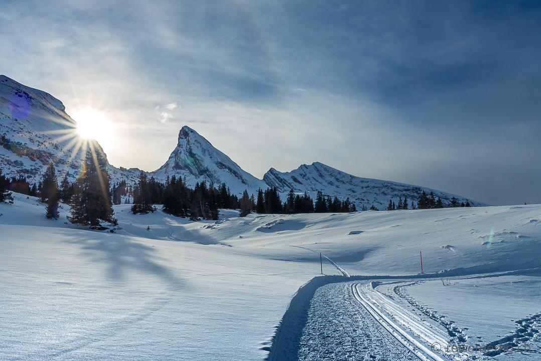 Winterwanderweg der Alp Sellamatt mit Panorama des Brisi, Frümsel und Selun