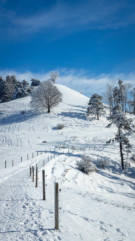 Verschneiter Winterwanderweg der Alp Ergeten