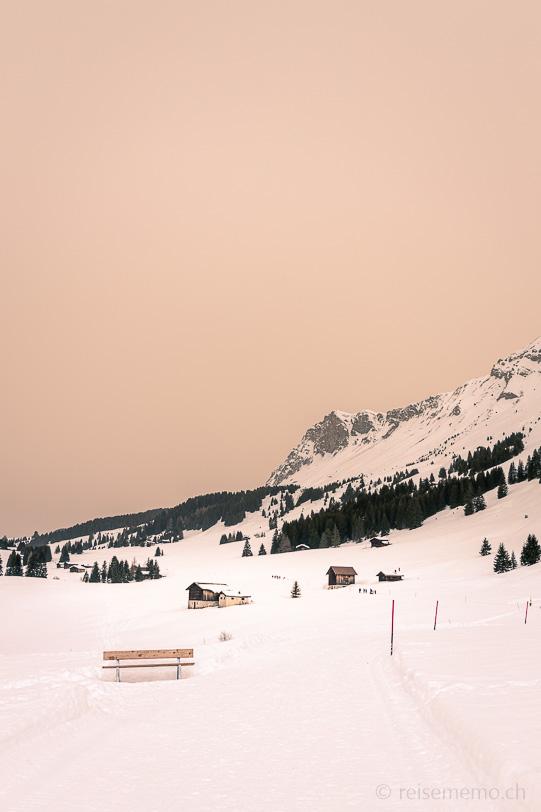 Winterwanderweg Mittelberg-Weg oberhalb Parpan