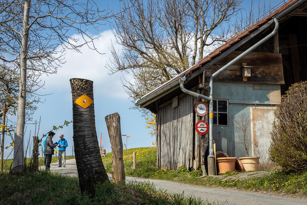 Wanderwegweiser beim Weiler Höchi