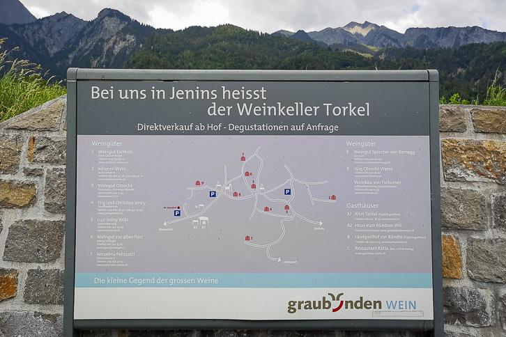 Karte der Torkel (Weinkeller) von Jenins gemäss Graubünden Wein