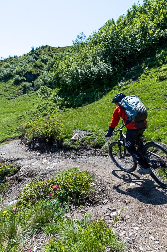 Mountainbiker bei der Abfahrt vom Pizol