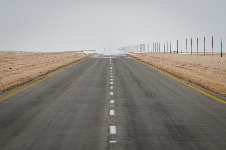 Mittelstreifen der asphaltierten Strasse nördlich von Swakopmund, Namibia